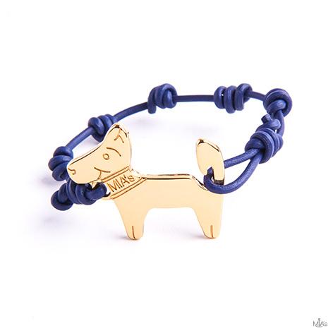 bracciale blu dog oro