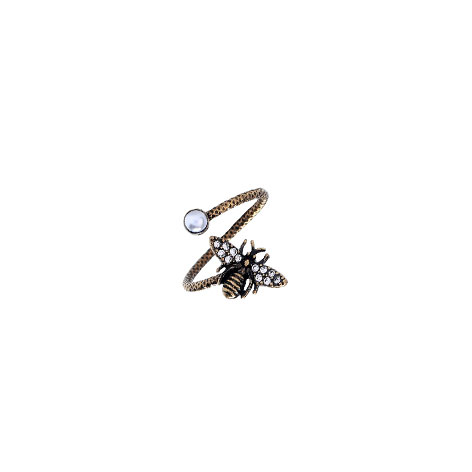 anello ape metallo dorato e perla