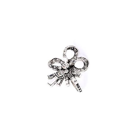 anello fiocco argento cristalli bianchi donna mias vintage