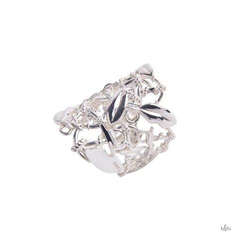anello a fascia argento ancora e bocca