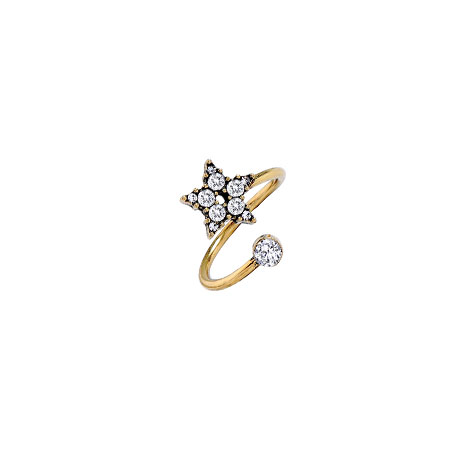 anello stella oro cristalli bianchi mias vintage