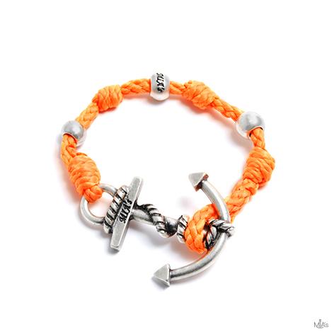 bracciale love boat arancione ancora argento