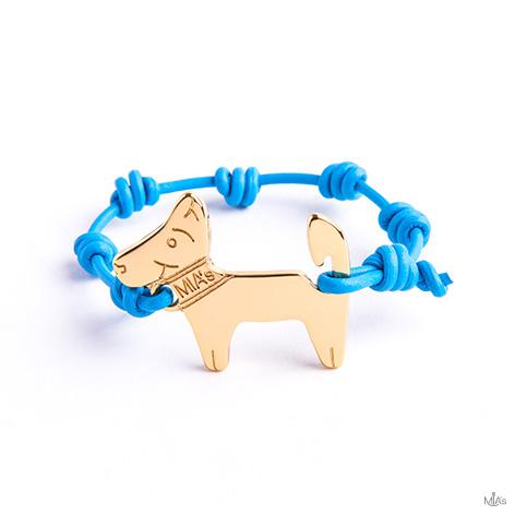 bracciale azzurro dog oro