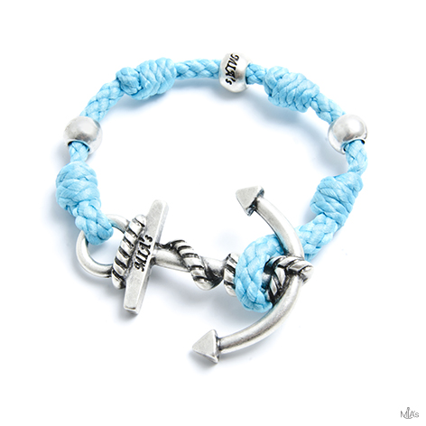 bracciale love boat azzurro ancora argento