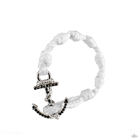 bracciale black diamonds bianco ancora argento