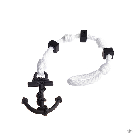 bracciale square bianco ancora nera