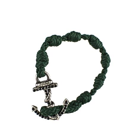 bracciale black diamonds verde scuro ancora argento