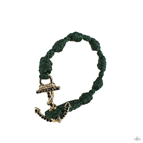 bracciale black diamonds verde scuro ancora oro