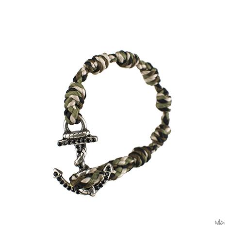 bracciale black diamonds camouflage ancora argento
