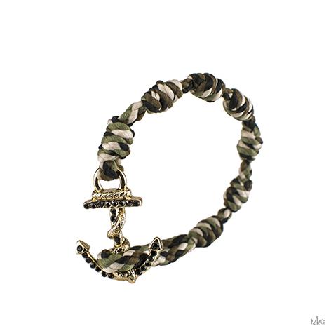 bracciale black diamonds camouflage ancora oro