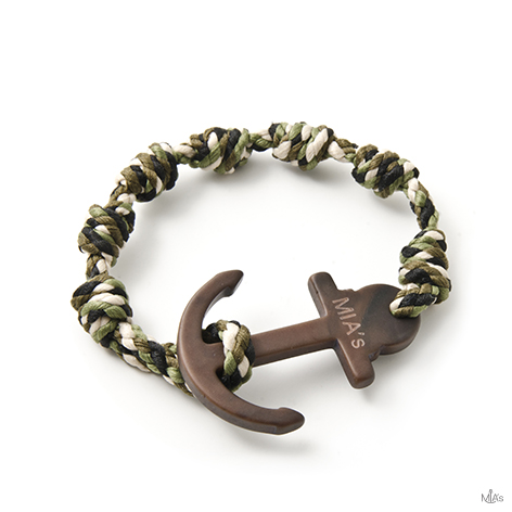 bracciale elegance camouflage ancora legno