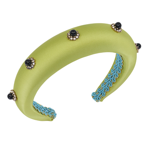 cerchietto bombato raso verde gioiello perle nere