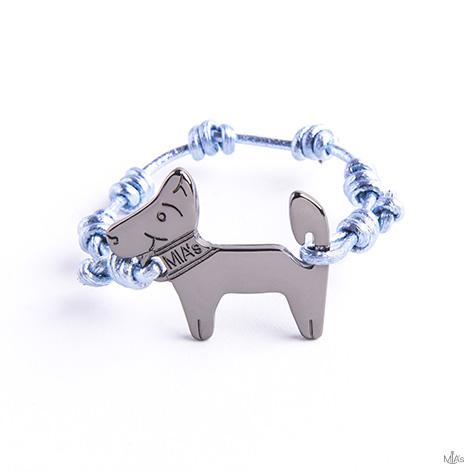bracciale azzurro metal dog rutenio