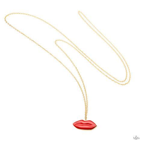 collana oro con pendete bocca rossa