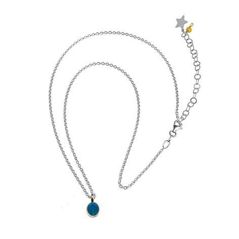 collana catena argento madonnina blu