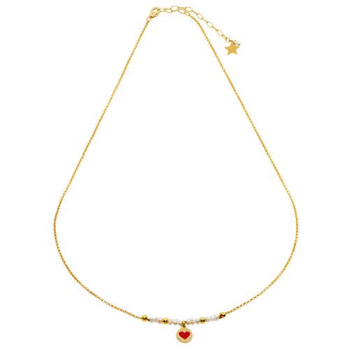 collana cuore rosso perle bianche catena oro mias vintage