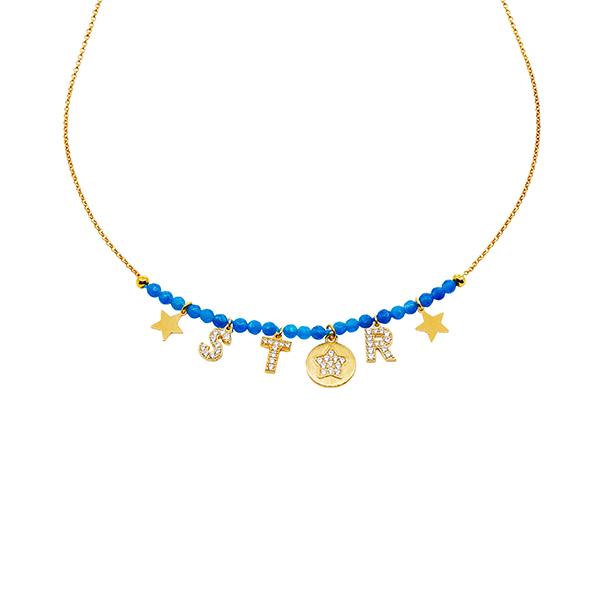 collana mias vintage pietre naturali azzurre scritta star