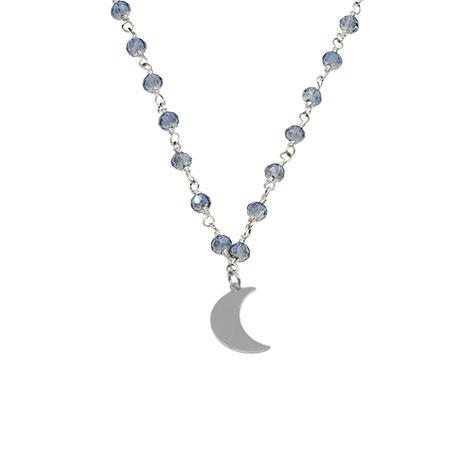 dettaglio luna collana rosario argento cristalli azzurri mias vintage