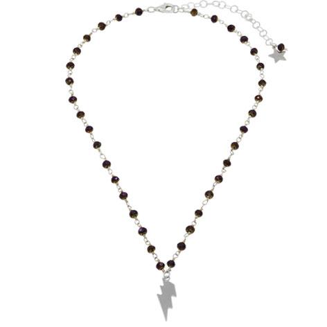 collana rosario argento cristalli viola saetta argento
