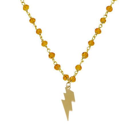 dettaglio saetta rosario oro cristalli arancione