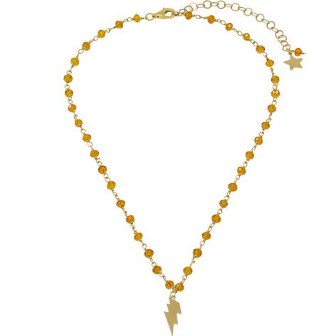 collana rosario oro cristalli arancione saetta mias vintage