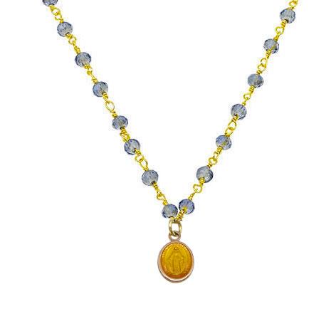 dettaglio madonnina gialla rosario oro cristalli azzurri mias vintage