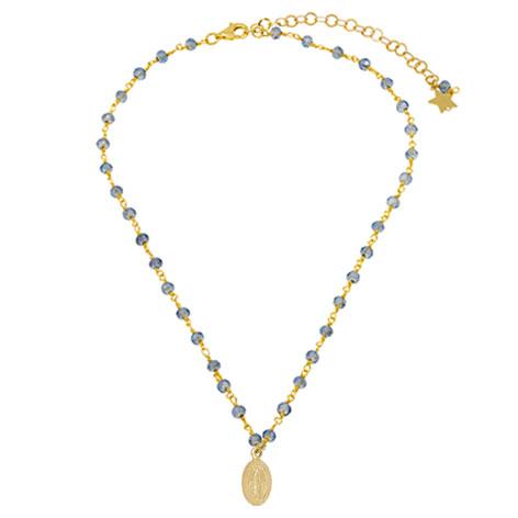 collana rosario oro cristalli azzurri madonnina oro