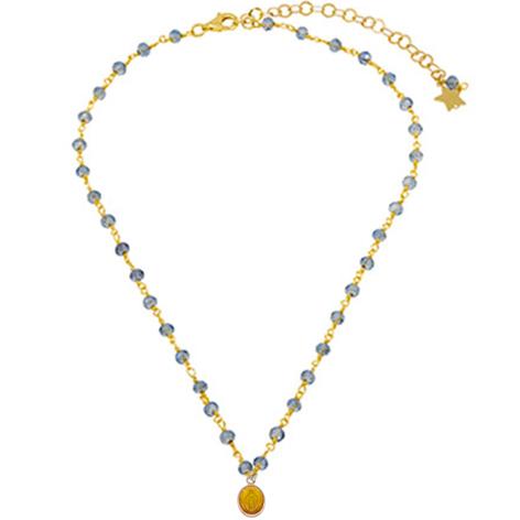collana rosario oro cristalli azzurri madonnina gialla