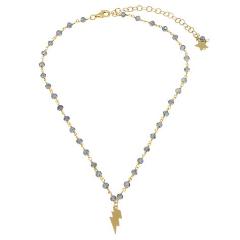 collana rosario oro cristalli azzurri saetta