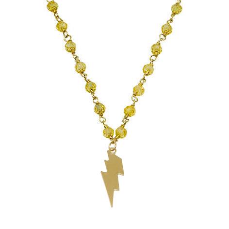 collana rosario oro cristalli gialli saetta