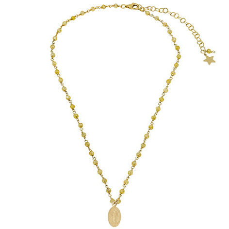 collana rosario oro cristalli gialli madonnina oro