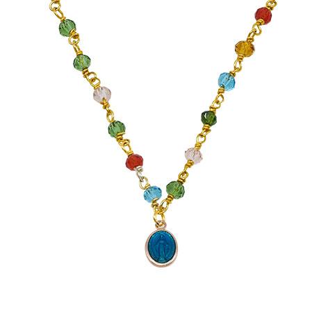 dettaglio madonnina blu cristalli multicolore mias vintage