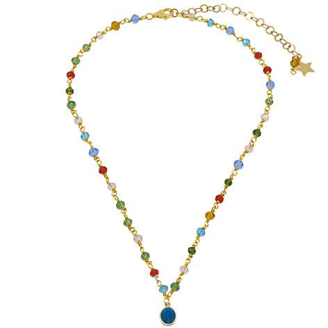 collana rosario oro cristalli multicolore madonnina blu mias vintage