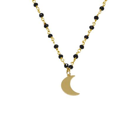 dettaglio rosario oro cristalli neri luna