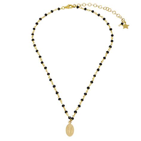 collana rosario oro cristalli neri madonnina oro mias vintage