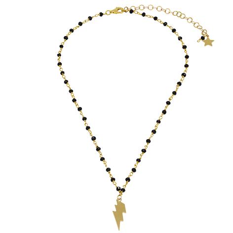 collana rosario oro cristalli neri saetta