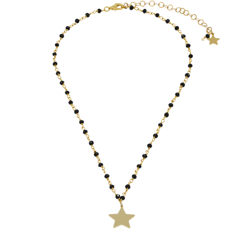 collana rosario oro cristalli neri mias vintage stella