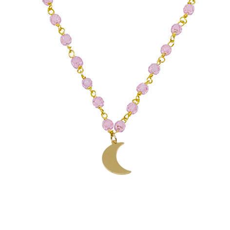 dettaglio luna oro collana cristalli rosa mias vintage