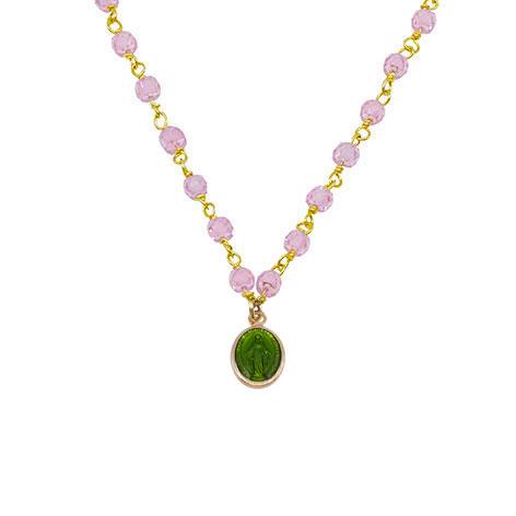 dettaglio madonnina verde rosario oro cristalli rosa mias vintage