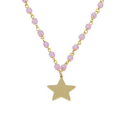 dettaglio stella oro rosario cristalli rosa