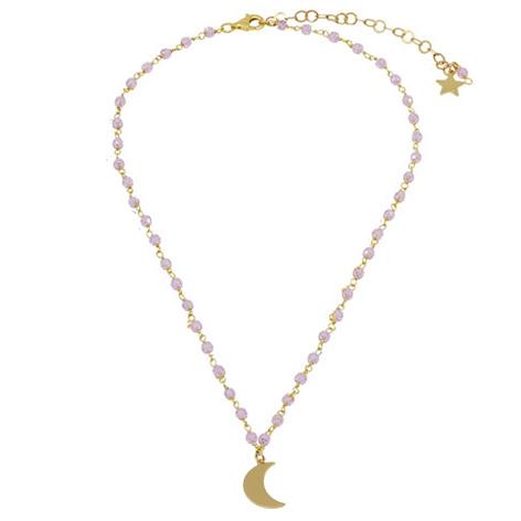 collana rosario oro cristalli rosa luna mias vintage