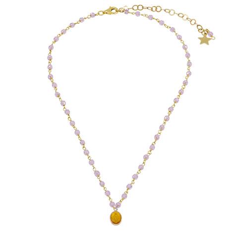 collana rosario oro cristalli rosa madonnina gialla mias vintage