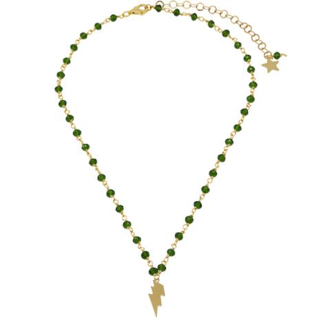 collana rosario oro cristalli verdi saetta