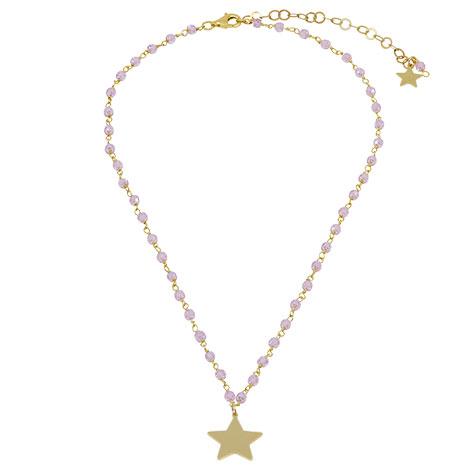 collana rosario oro cristalli rosa stella oro