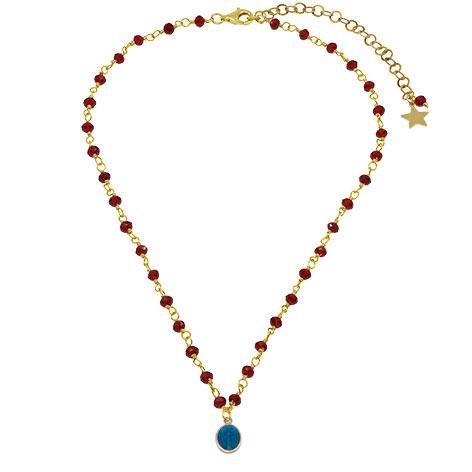 collana rosario oro cristalli rossi madonnina blu