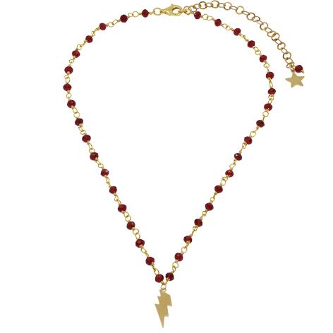 collana rosario oro cristalli rossi saetta