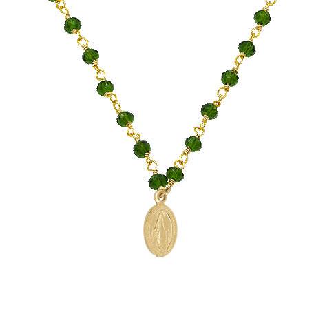dettaglio rosario oro madonnina oro cristalli verdi