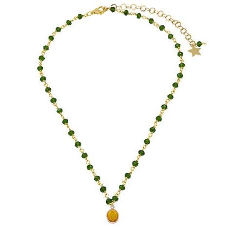 collana rosario oro cristalli verdi madonnina gialla mias vintage