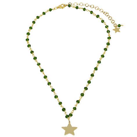 collana rosario oro cristalli verdi stella oro