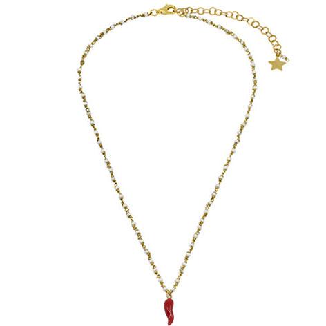collana rosario oro perline bianche cornetto mias vintage